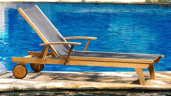 Teak Riviera Lounger Fabric Color: Black