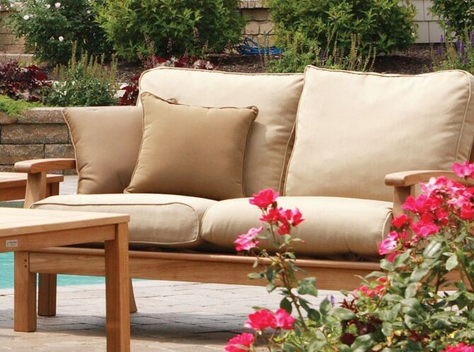 Monterey Deep Seating Loveseat with Cushions Fabric: Forest Green