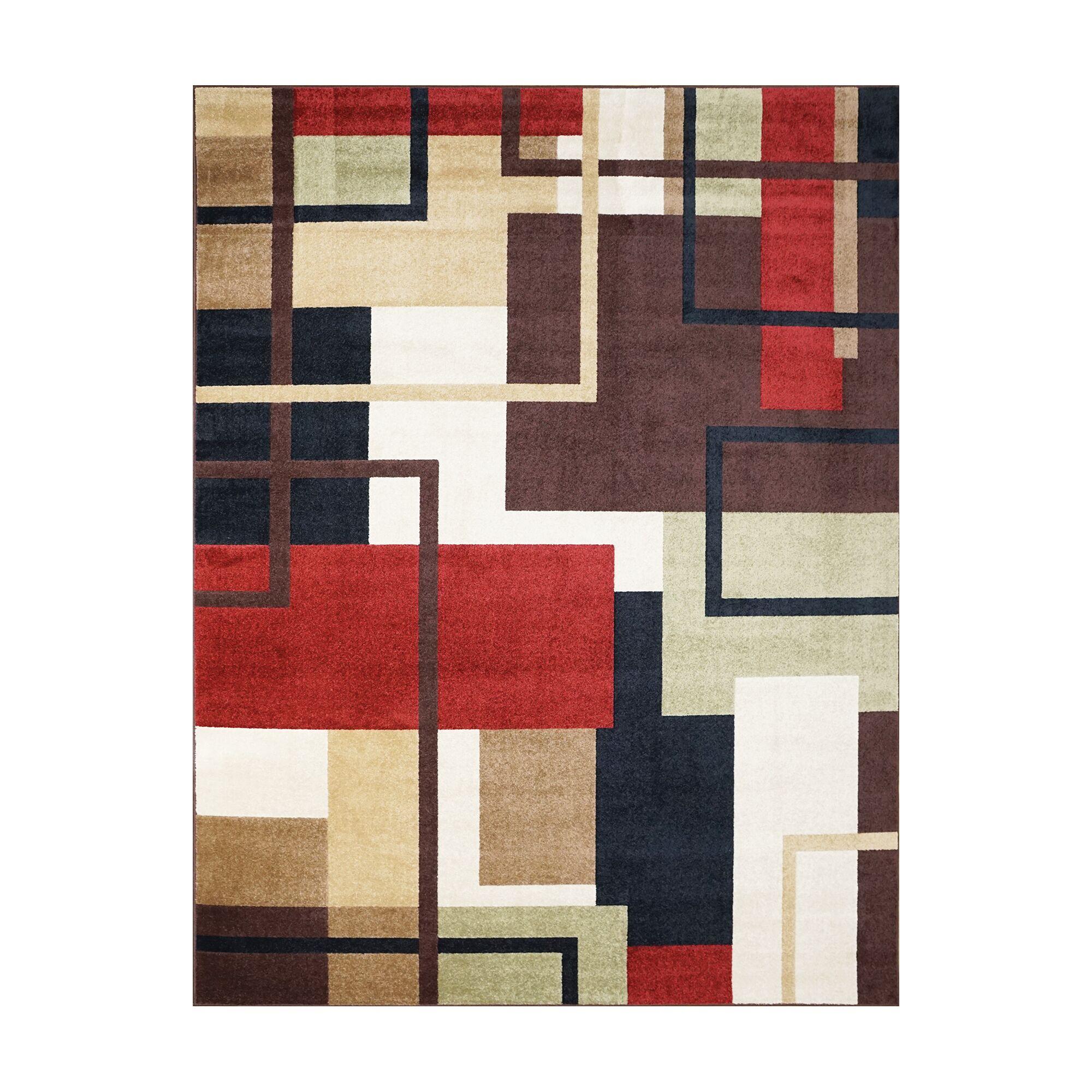 Adan Red/Black Indoor/Outdoor Area Rug Rug Size: Rectangle 5'3