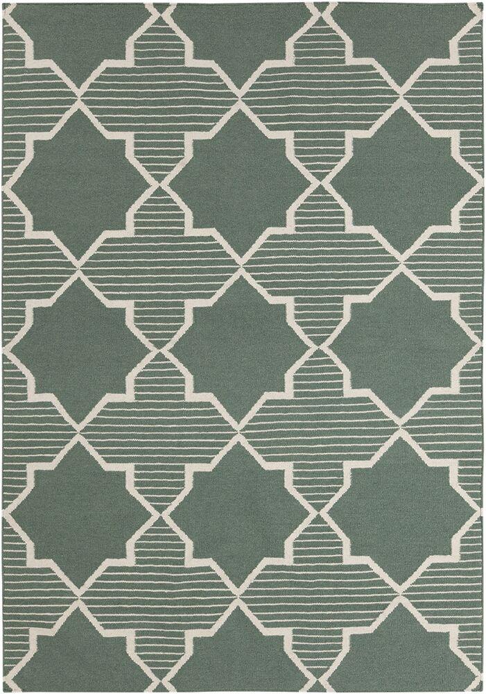 Bayonne Green/White Geometric Rug Rug Size: 7' x 10'