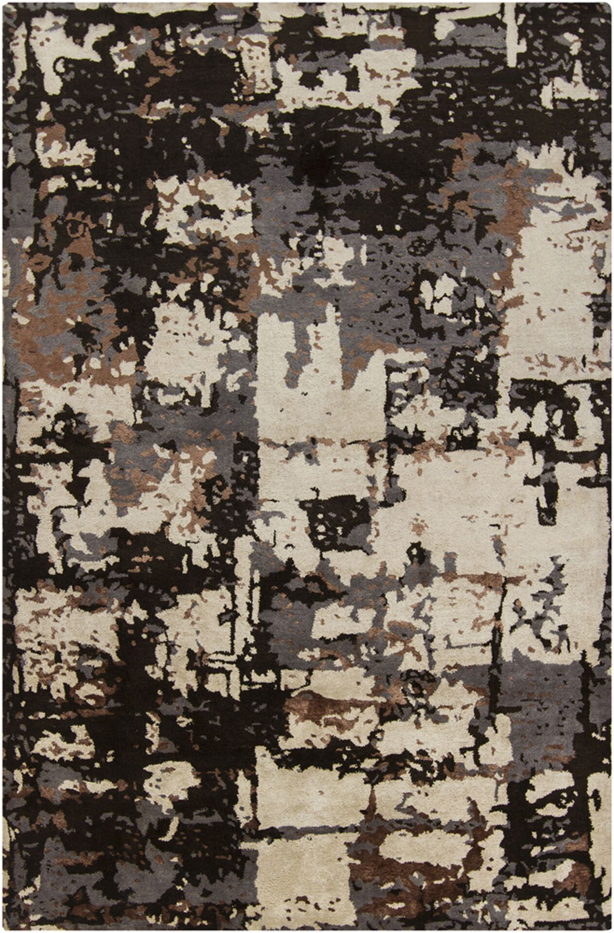 Powell Brown & Black Abstract Area Rug Rug Size: 9' x 13'