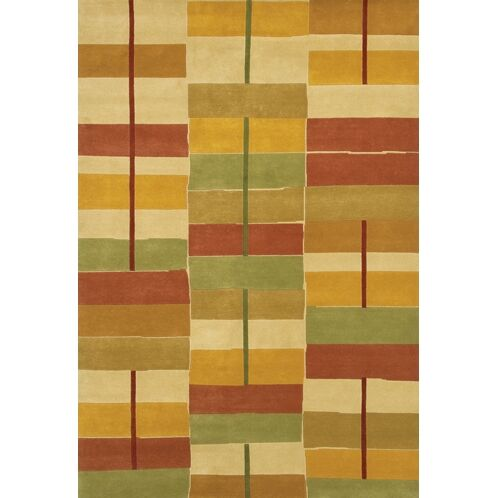 Caines Gold/Red Area Rug Rug Size: Round 7'9