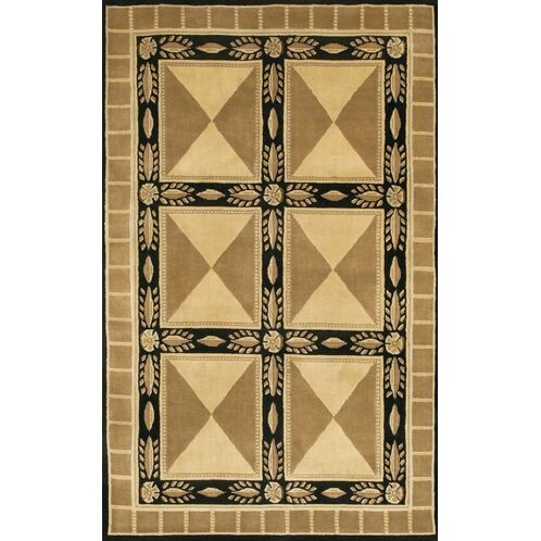Caines Tan/Black Area Rug Rug Size: Round 7'9