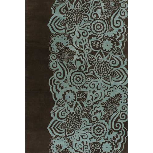 Steib Wool Blue/Black Area Rug Rug Size: Rectangle 7'9