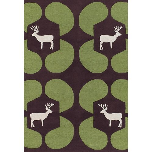 Valencia Green Deer Novelty Rug Rug Size: Rectangle 5' x 7'6