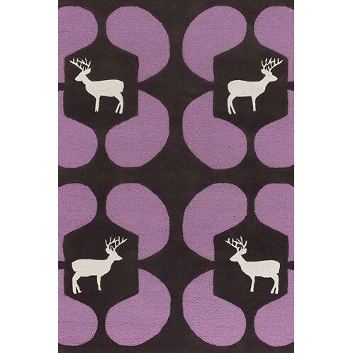Valencia Purple Deer Novelty Rug Rug Size: Round 7'9