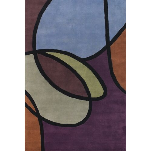 Stickel Hand Woven Blue/Tan Area Rug Rug Size: Round 7'9