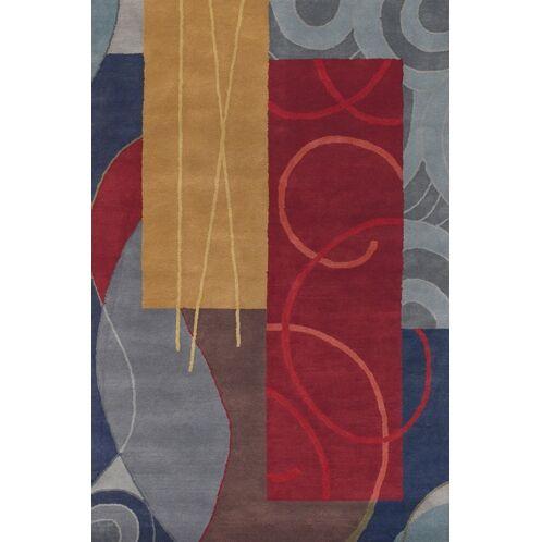 Stickel Red/Grey Area Rug Rug Size: Round 7'9