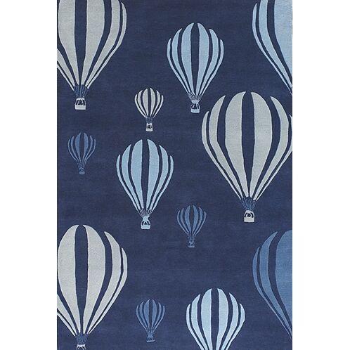 Caddy Balloon White/Blue Area Rug Rug Size: 2' x 3'