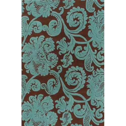 Jeffie Brown & Blue Area Rug Rug Size: Round 7'9
