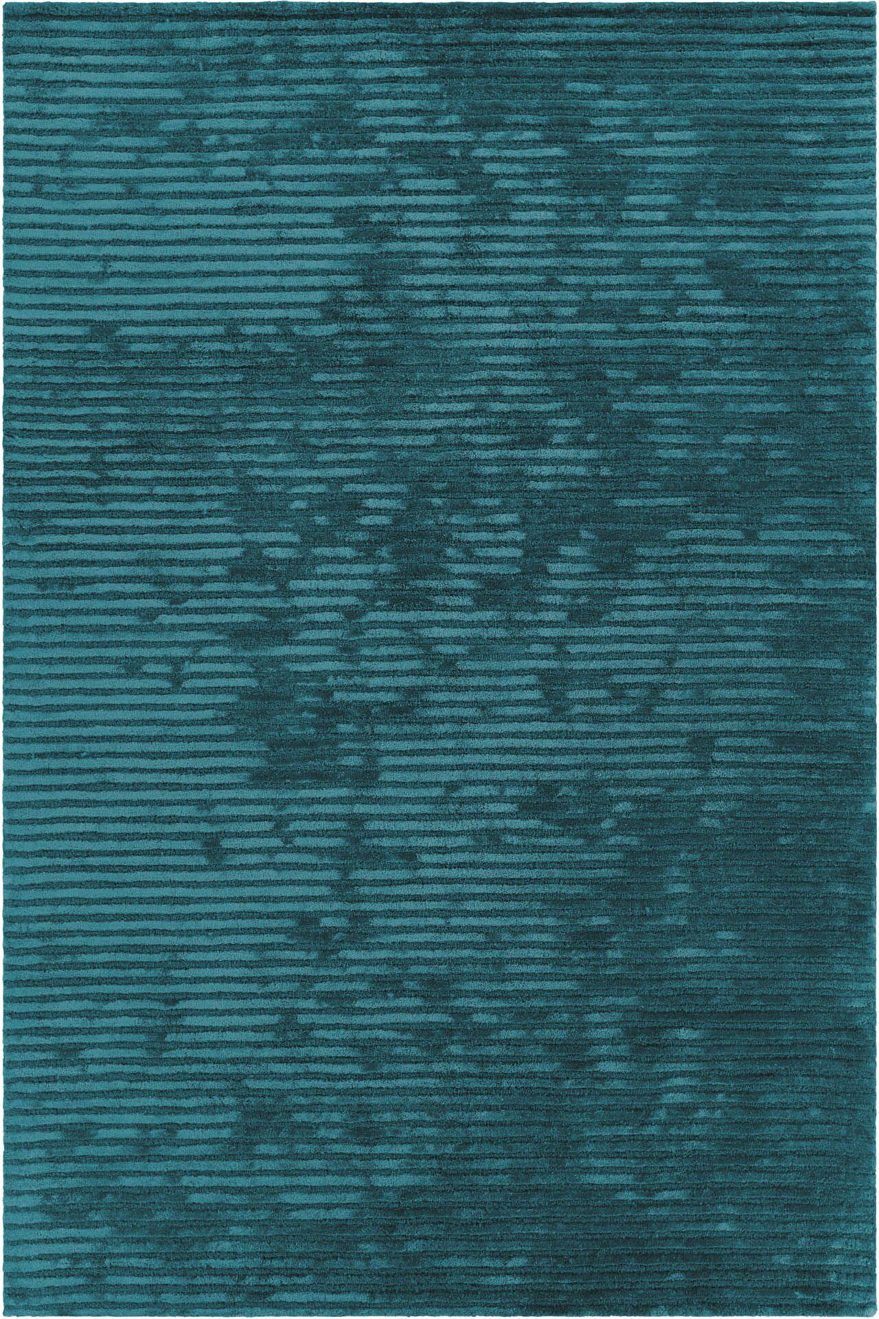 Nathen Textured Striped Blue Area Rug Rug Size: 7'9