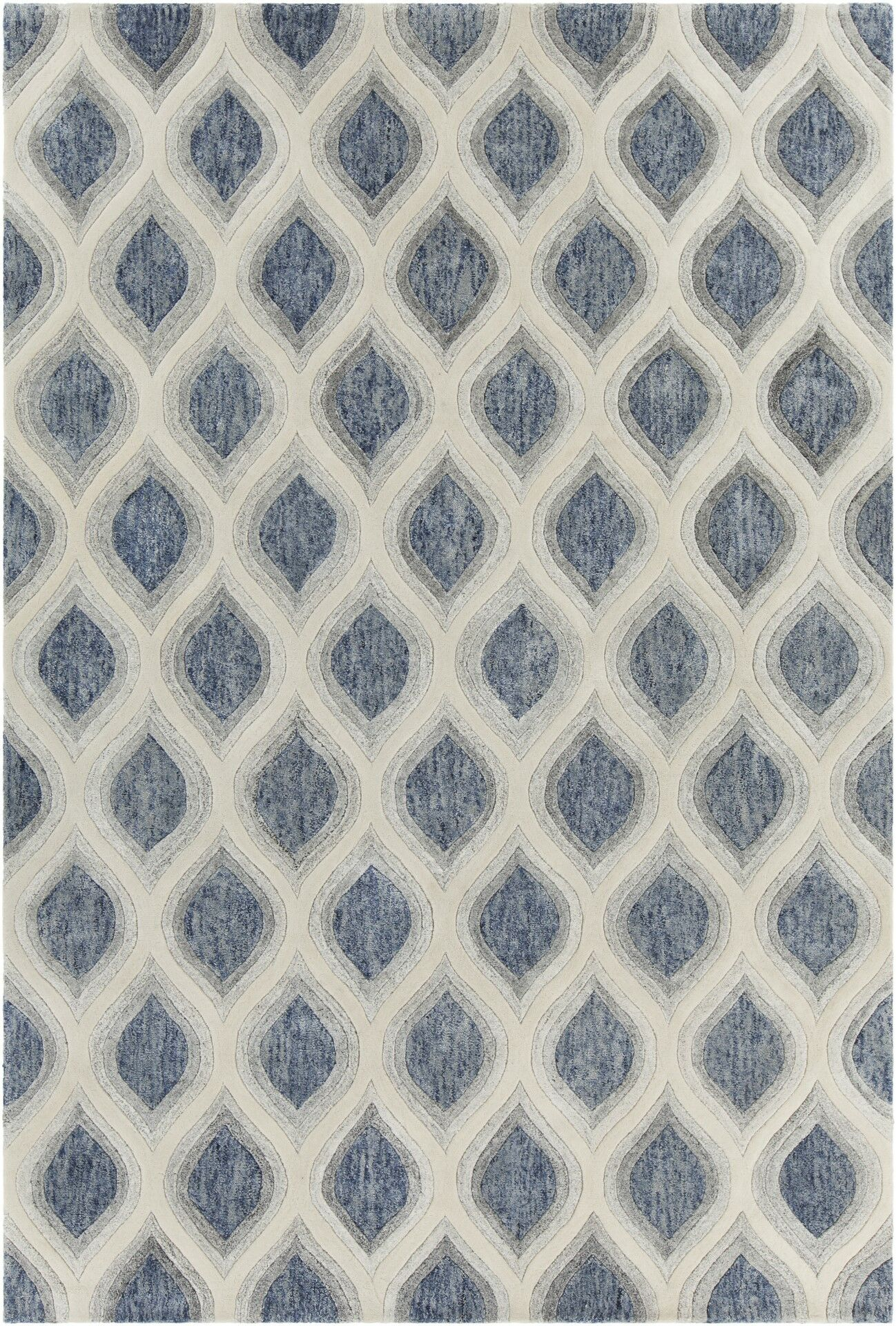 Delong Patterned Contemporary Blue/Cream Area Rug Rug Size: 5' x 7'6