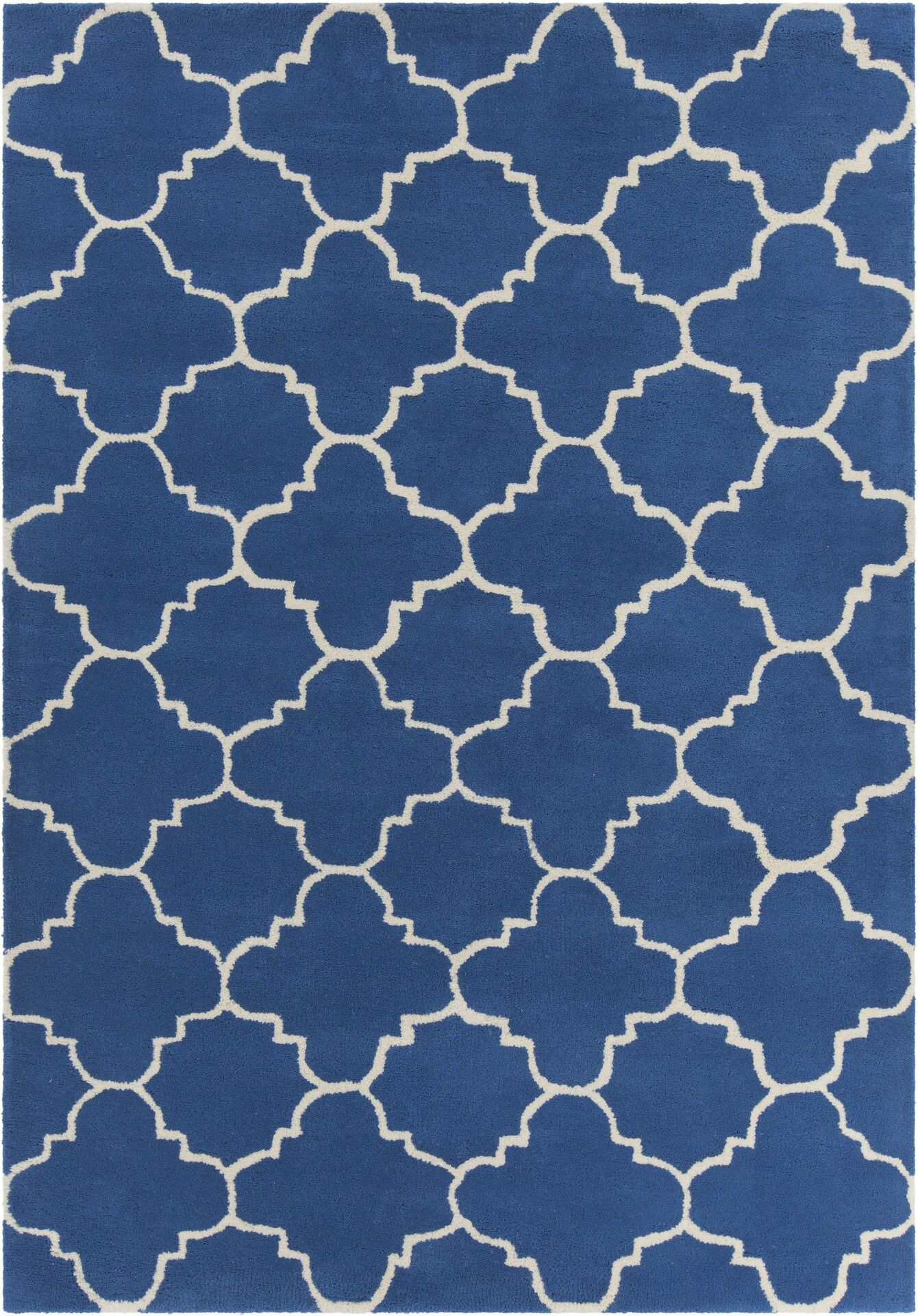 Electra Patterned Contemporary Wool Blue/White Area Rug Rug Size: 5' x 7'