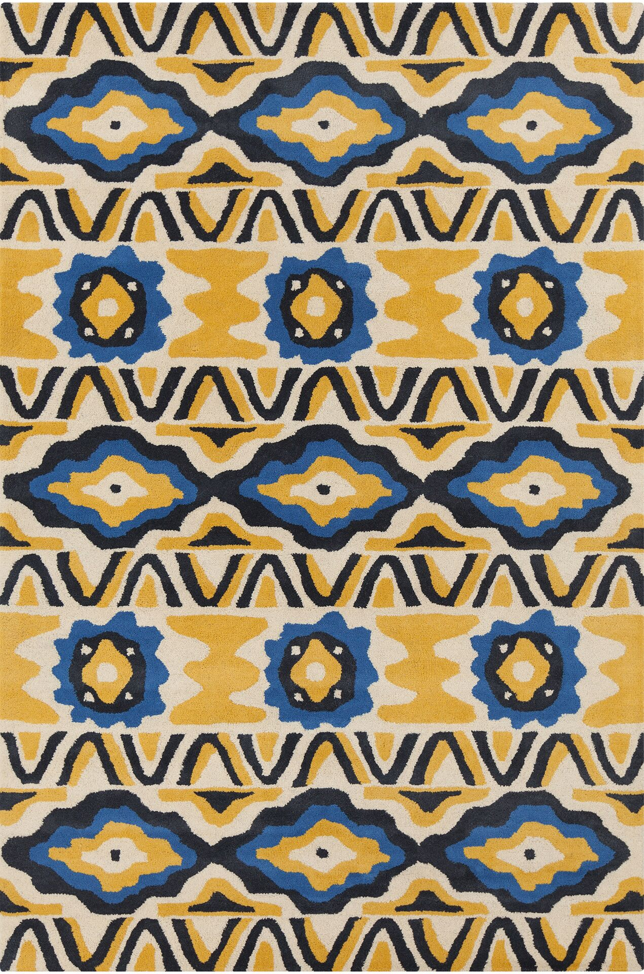 Gibbons Patterned Contemporary Wool Yellow/Blue Area Rug Rug Size: 5' x 7'6