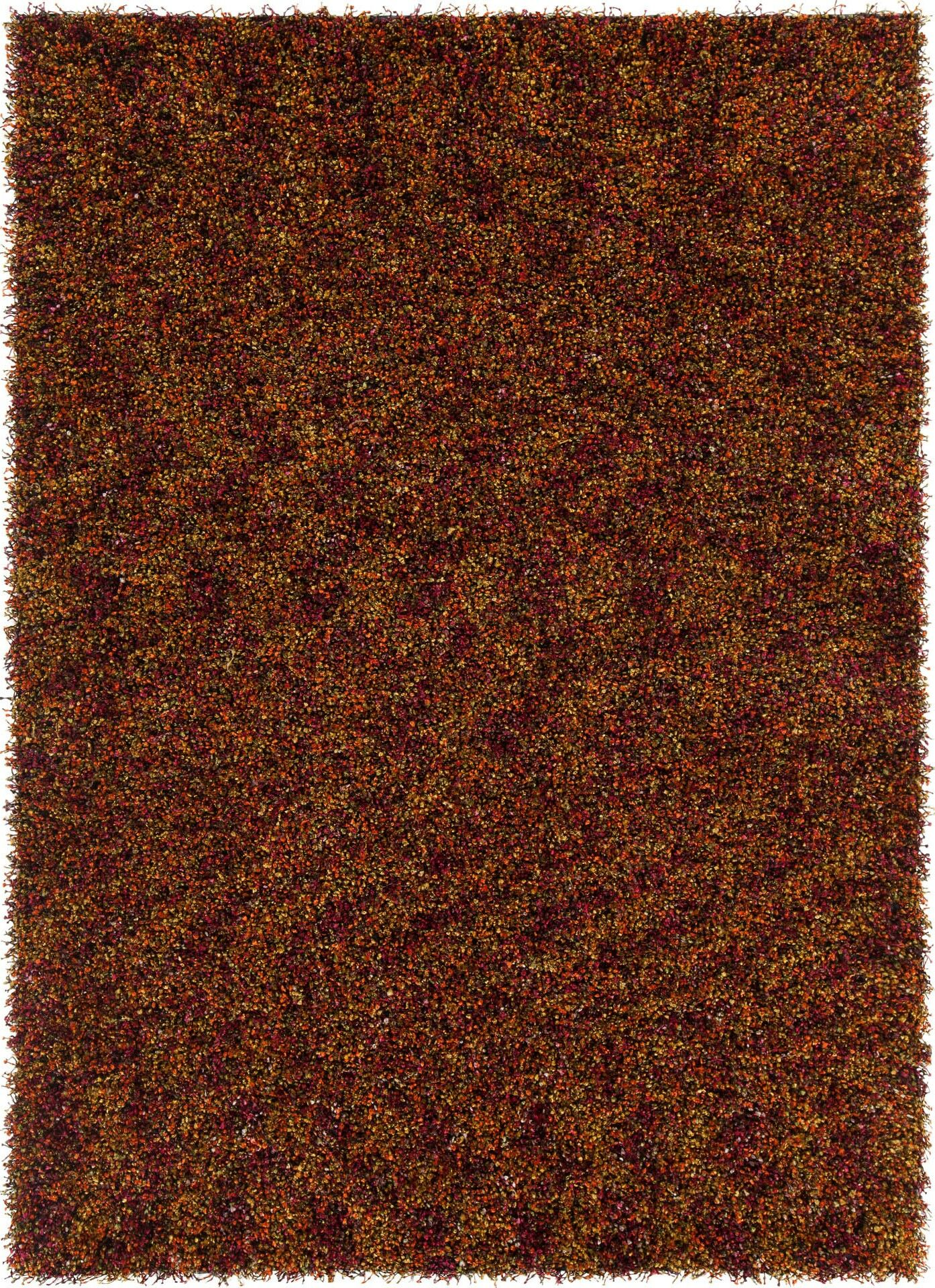 Stickland Textured Shag Red/Orange Area Rug Rug Size: 5' x 7'