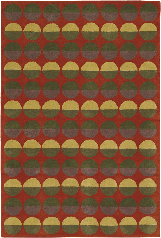 Burnestown Red Circle Area Rug Rug Size: 2' x 3'