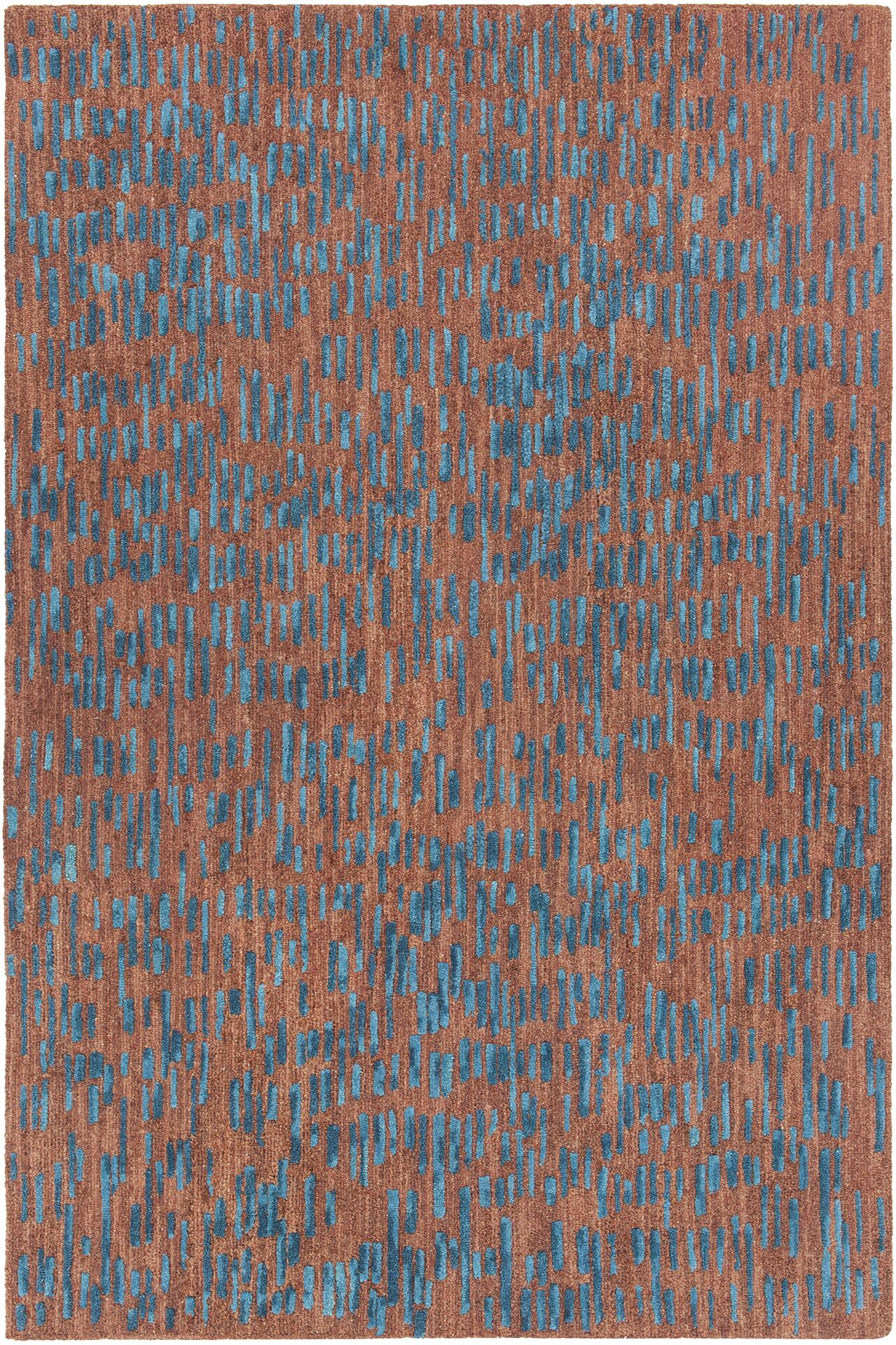 Kirtley Hand-Tufted Brown/Blue Area Rug Rug Size: 7'9