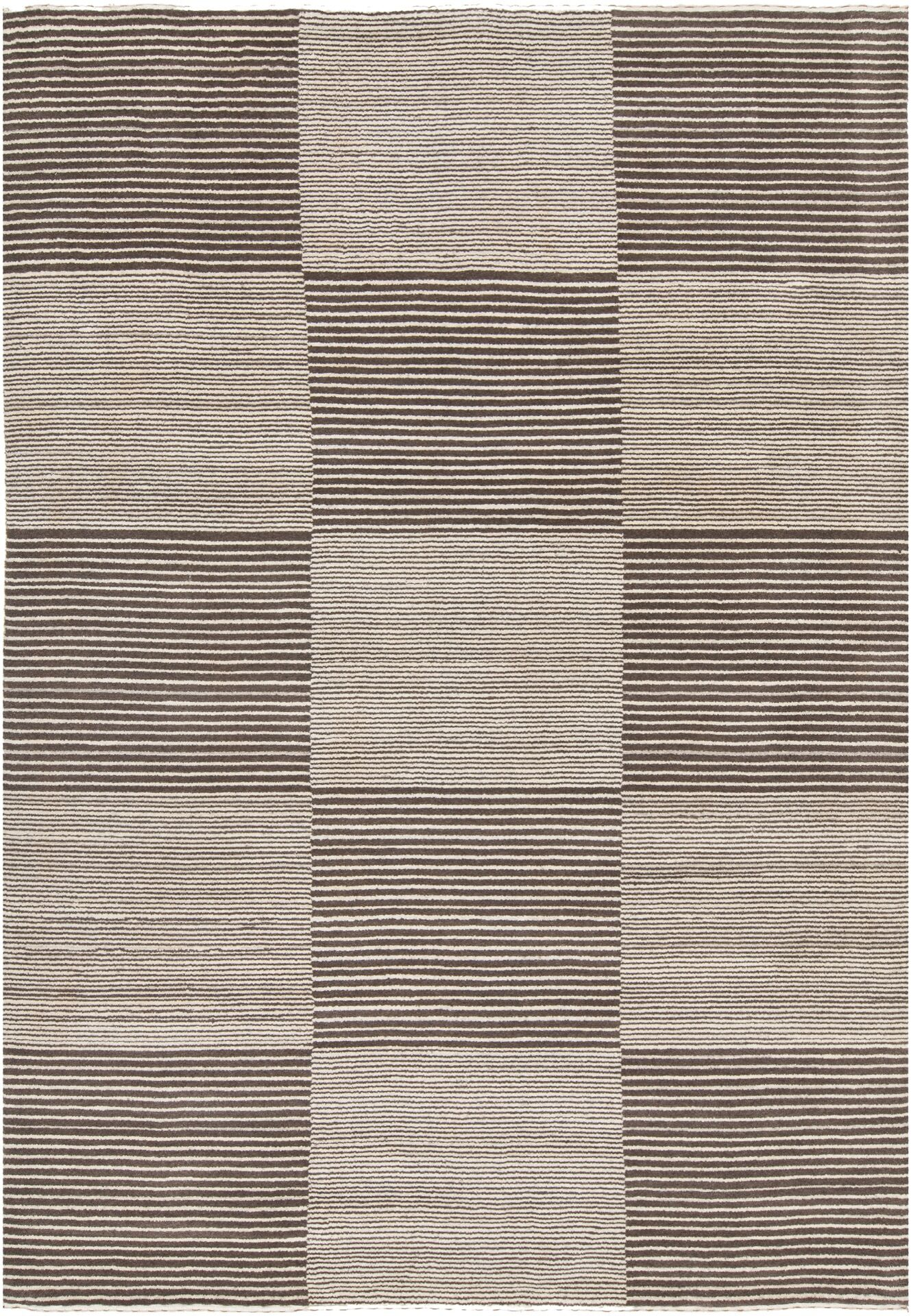 Roxanne Hand-Knotted Cream/Brown Area Rug Rug Size: 9' x 13'