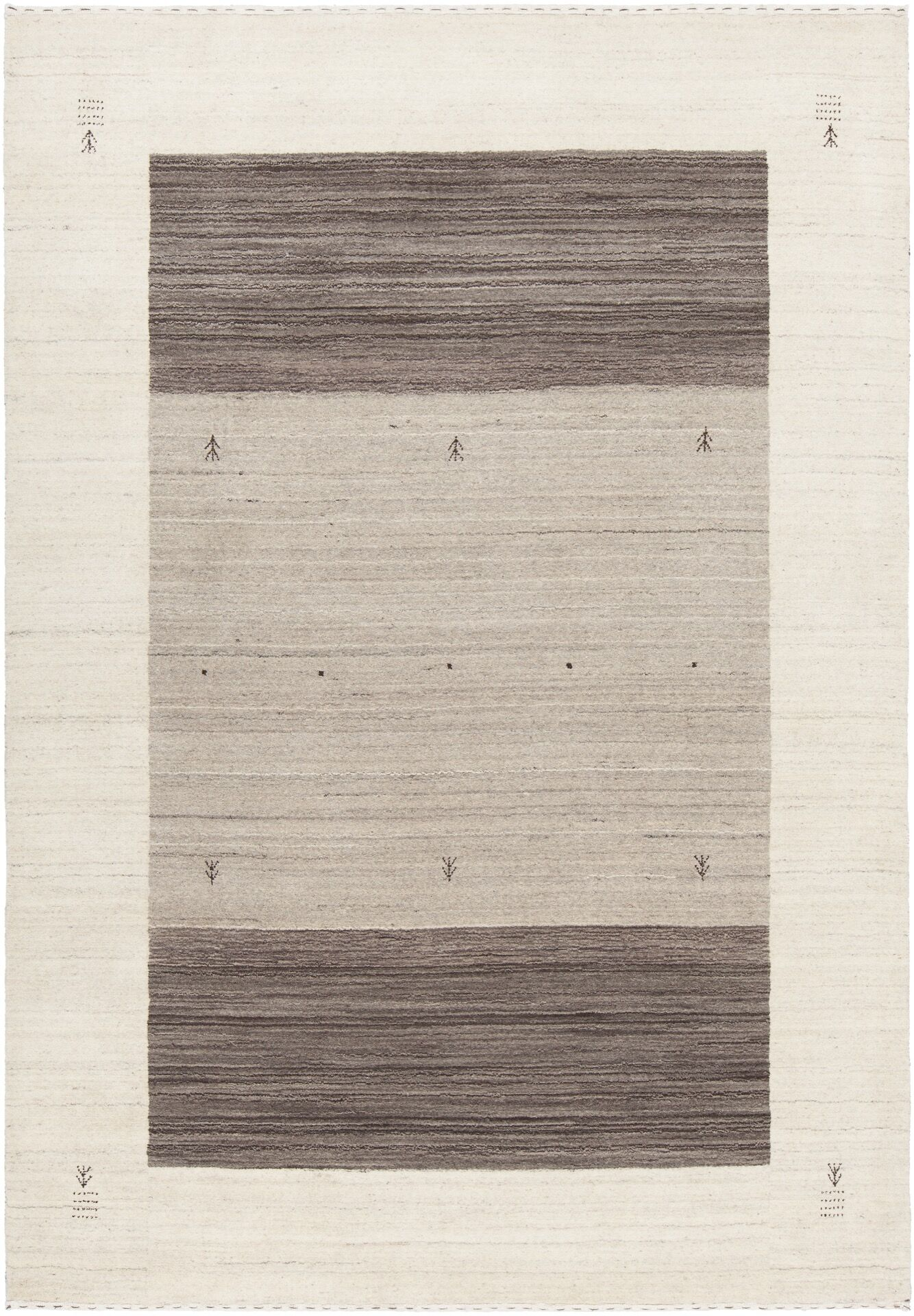 Roxanne Hand-Knotted Wool Cream/Brown Area Rug Rug Size: 9' x 13'