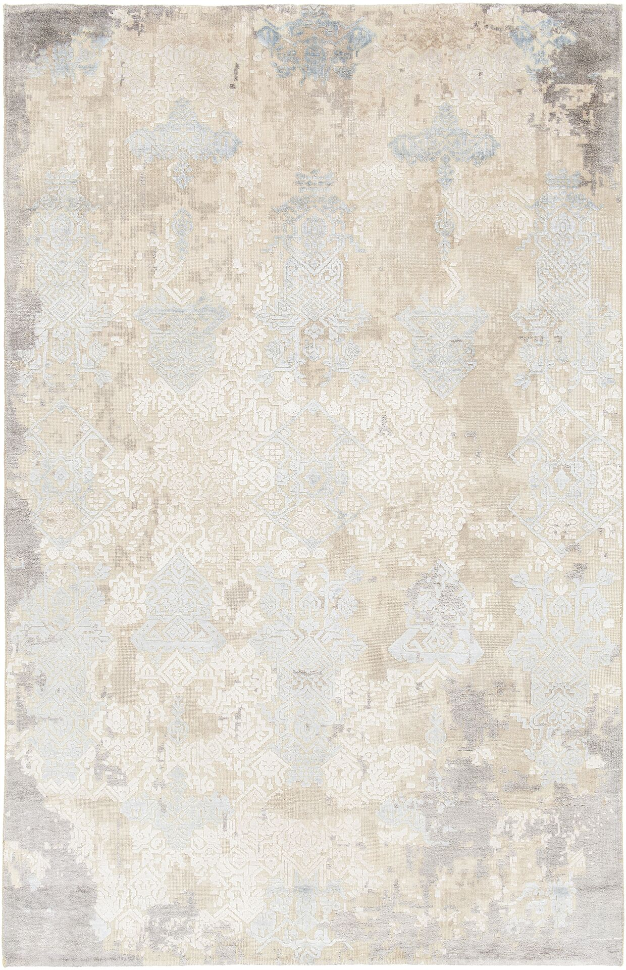 Rodericks Hand-Knotted Beige Wool Area Rug Rug Size: 7'9