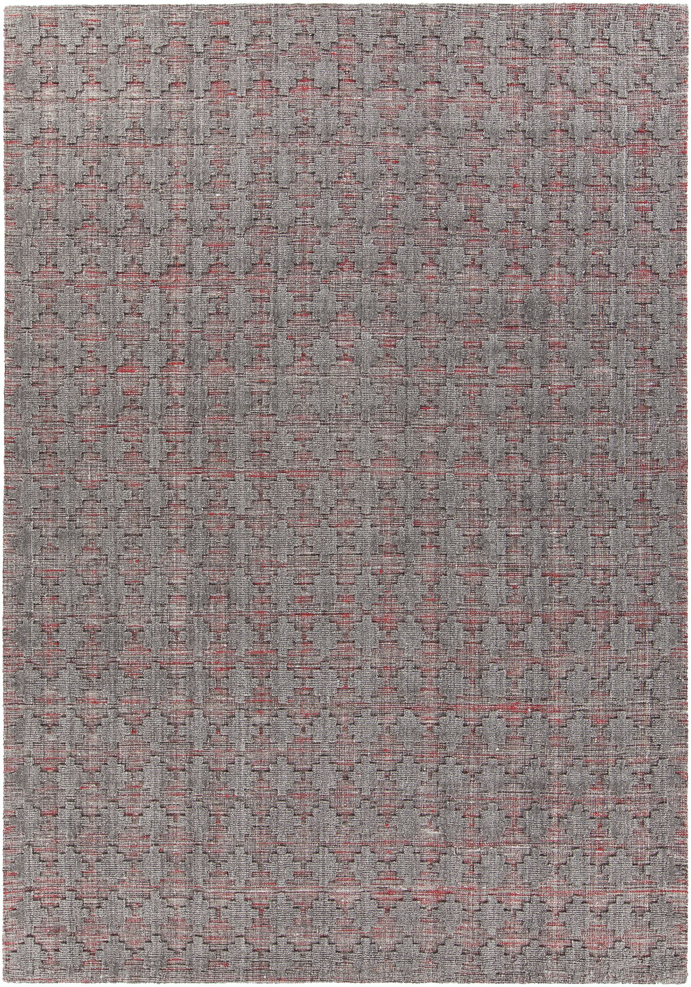 Tenleytown Hand-Woven Red/Gray Area Rug Rug Size: 7'9