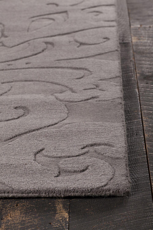 Raya Hand-Tufted Charcoal Area Rug Rug Size: Round 8'