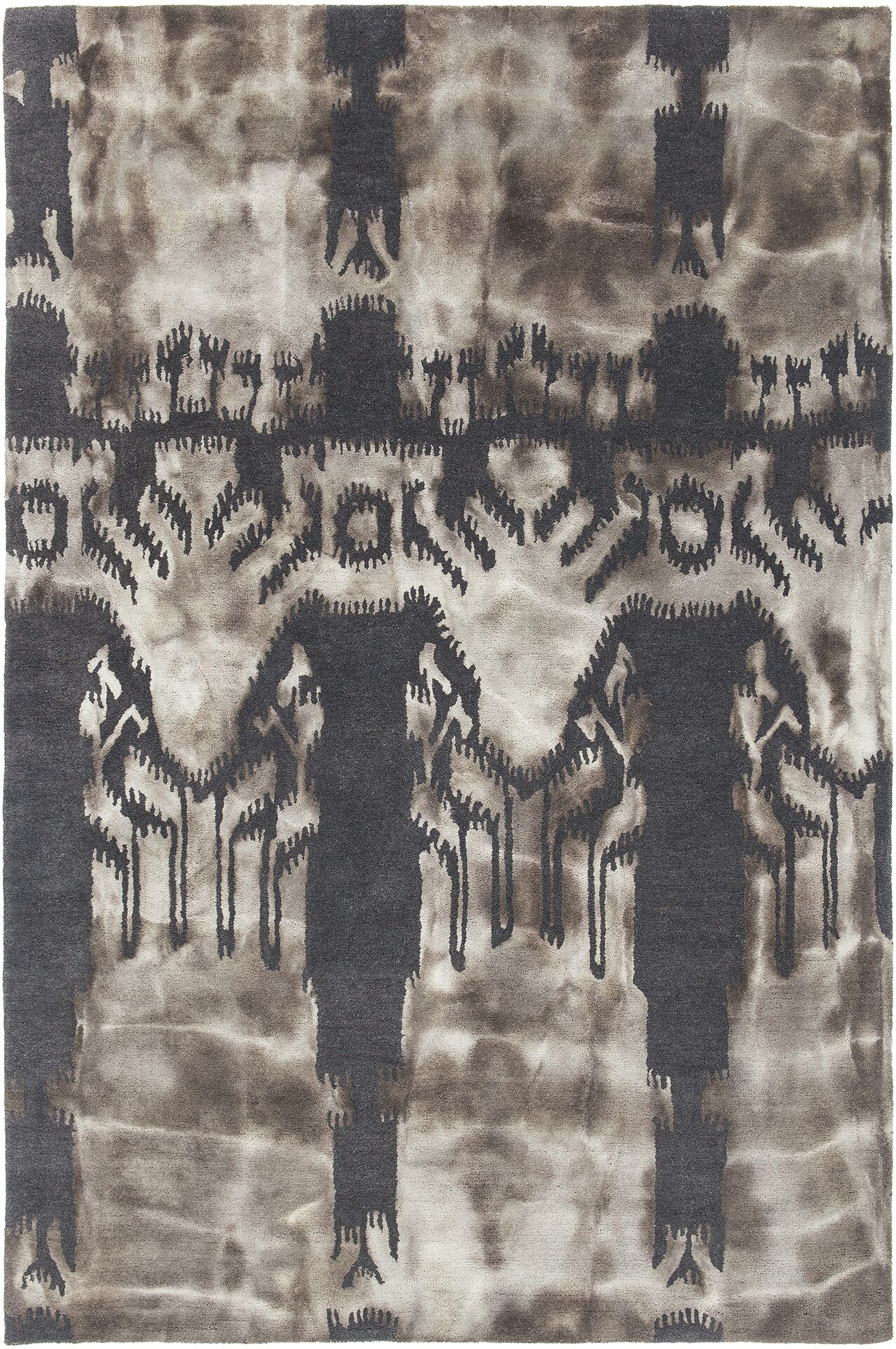 Features: -Color: Charcoal/Beige.-Handmade.-Material: Wool.-Primary Color: Charcoal and beige.-Primary Pattern: Abstract.-Rug Shape: .-Material: Wool -Material Details: ..-Eco-Friendly: No.-Fringe / Tassel: No.-Distressed: No.-Gender: Neutral.-Reversi...