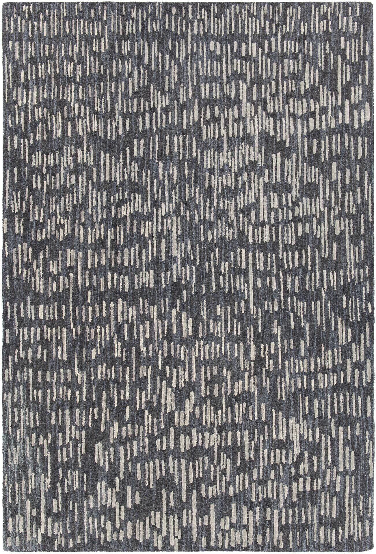Kirtley Hand-Woven Black/Gray Area Rug Rug Size: 7'9
