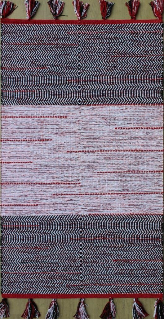 Parker Hand-Woven Black/Red Area Rug Rug Size: Rectangle 7'9