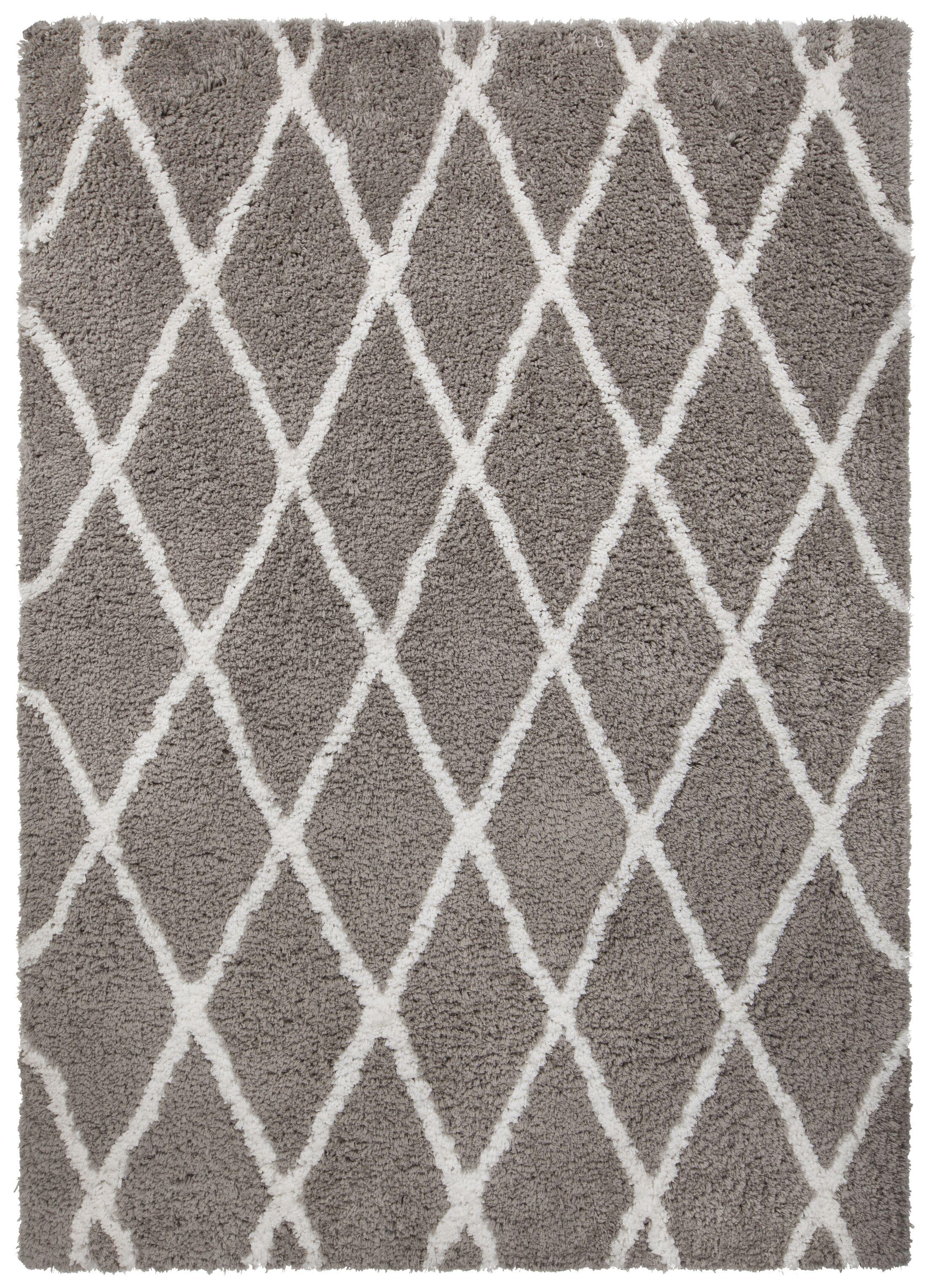 Mekhi Hand-Tufted Gray/White Area Rug Rug Size: Rectangle 5' x 7'6
