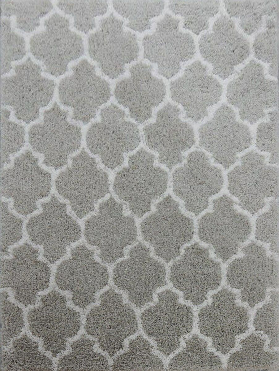 Kareen Hand-Tufted Gray/White Area Rug Rug Size: Rectangle 7'9