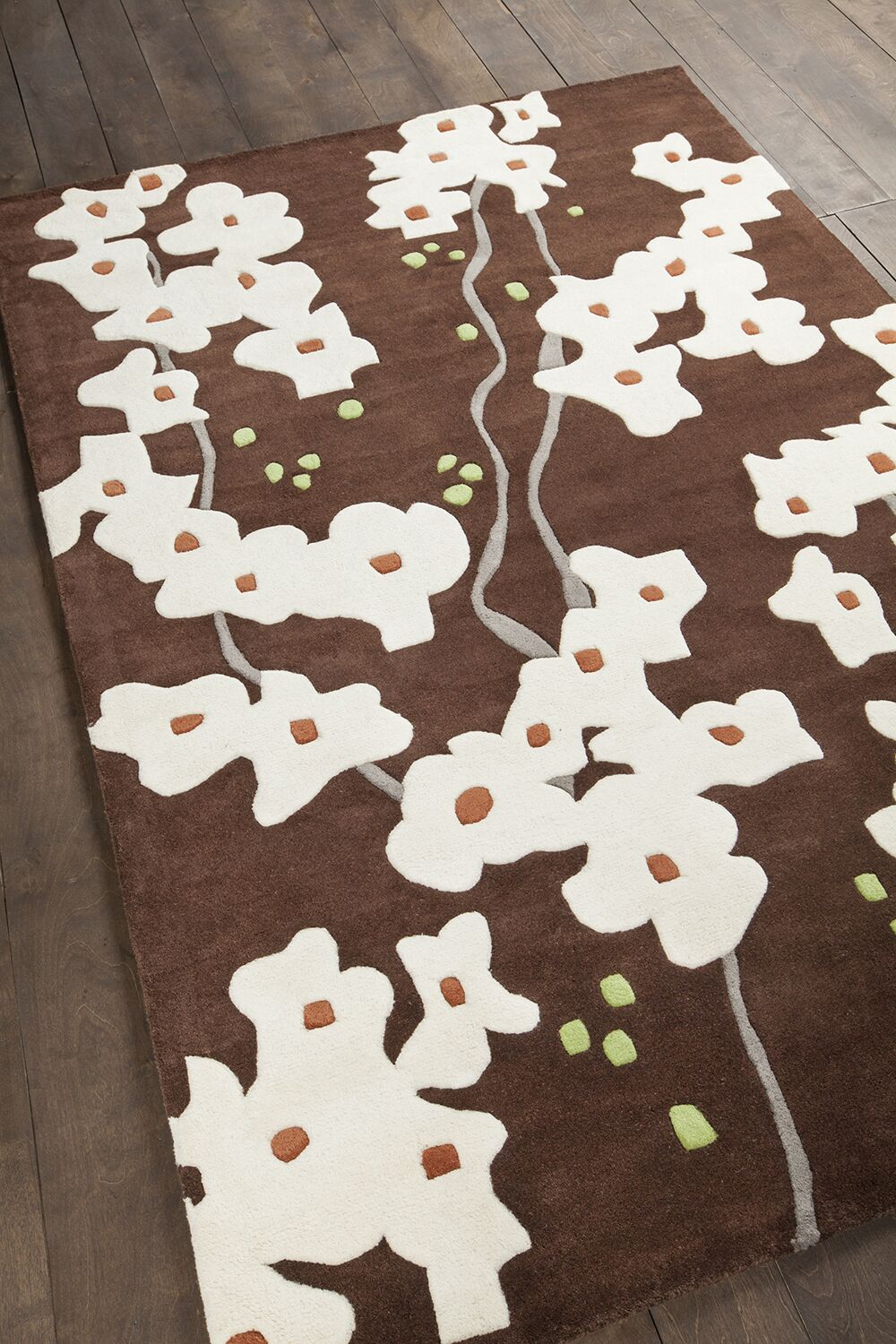 Stoltz Dark Brown/Ivory Area Rug Rug Size: 5' x 7'6