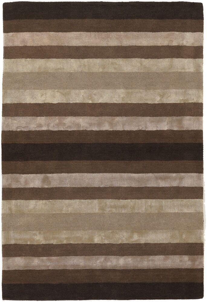 Emlyn Brown/Tan Stripes Area Rug Rug Size: 5' x 7'6