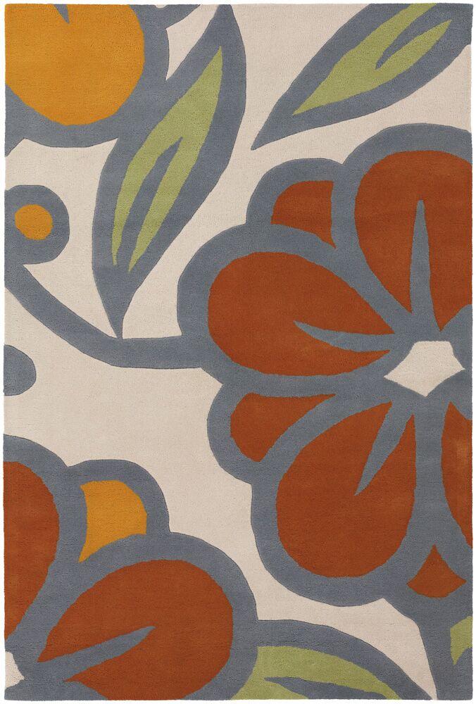 Stoltz Ivory/Orange Area Rug Rug Size: 5' x 7'6