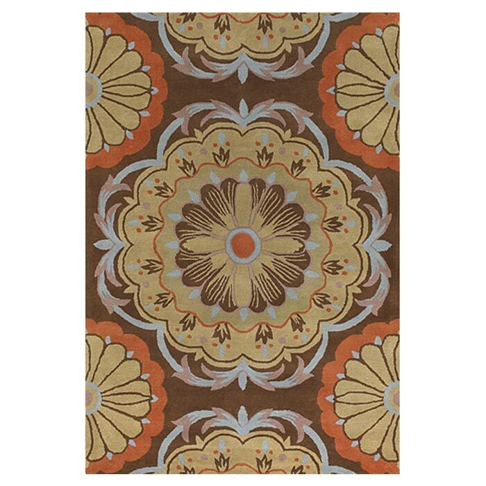 Wool Brown/Orange Area Rug Rug Size: Round 7'9