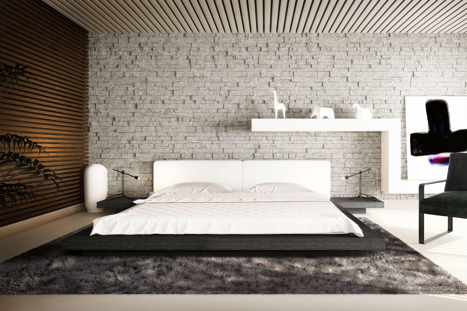 Worth Upholstered Platform Bed Size: King, Color: Gray Oak / White Leather