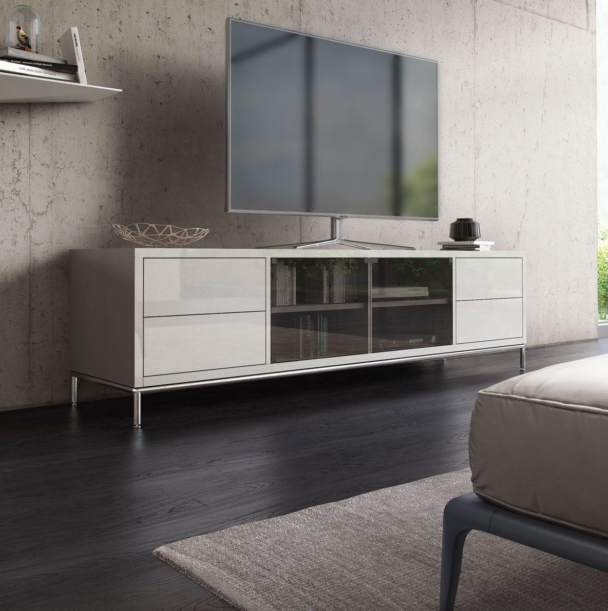 Multimedia Cabinet Color: White Lacquer