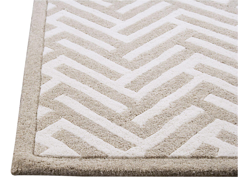 Tracks White/Ivory Area Rug Rug Size: 6'6
