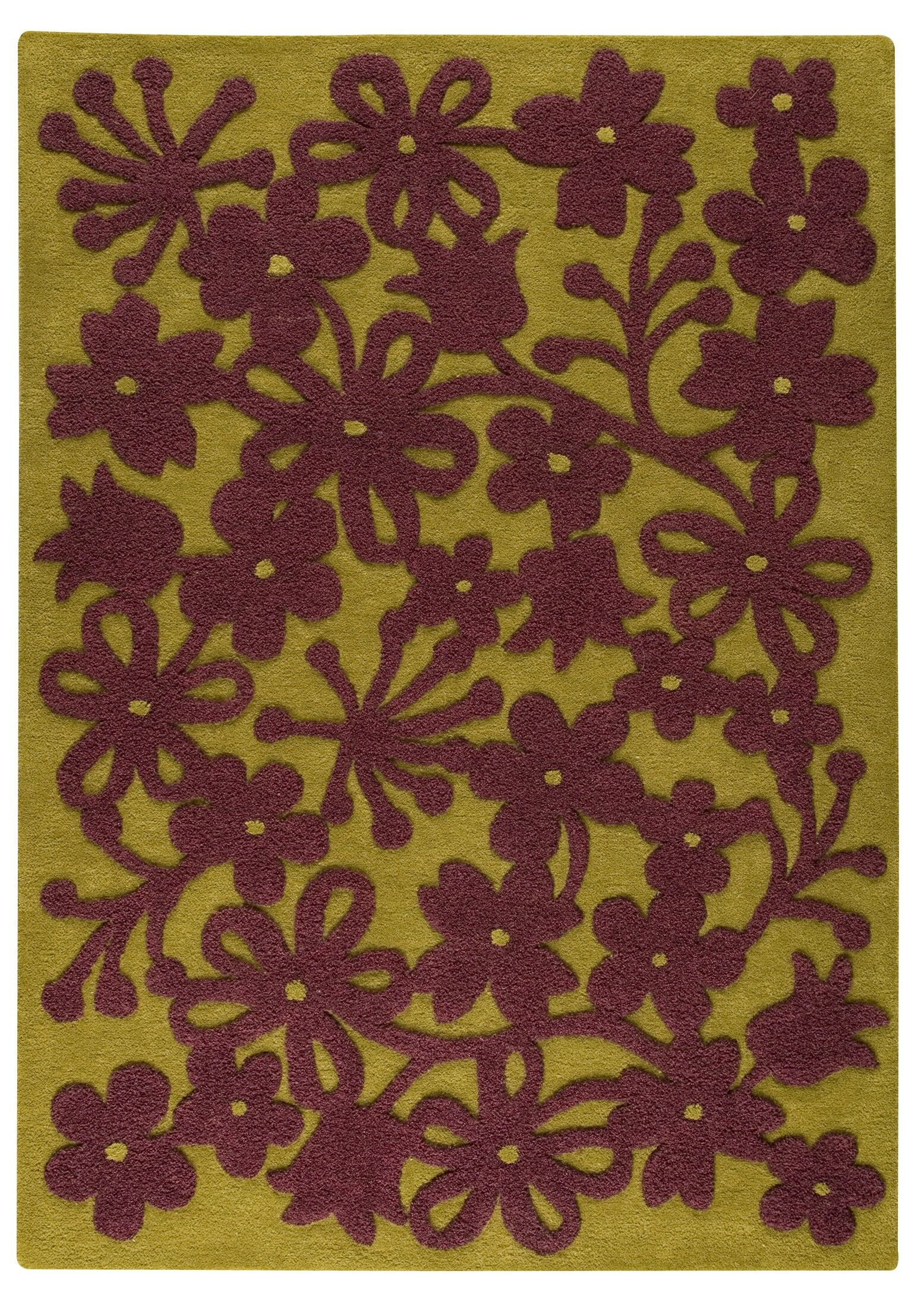 Annandale Green/Plum Area Rug Rug Size: 5'6