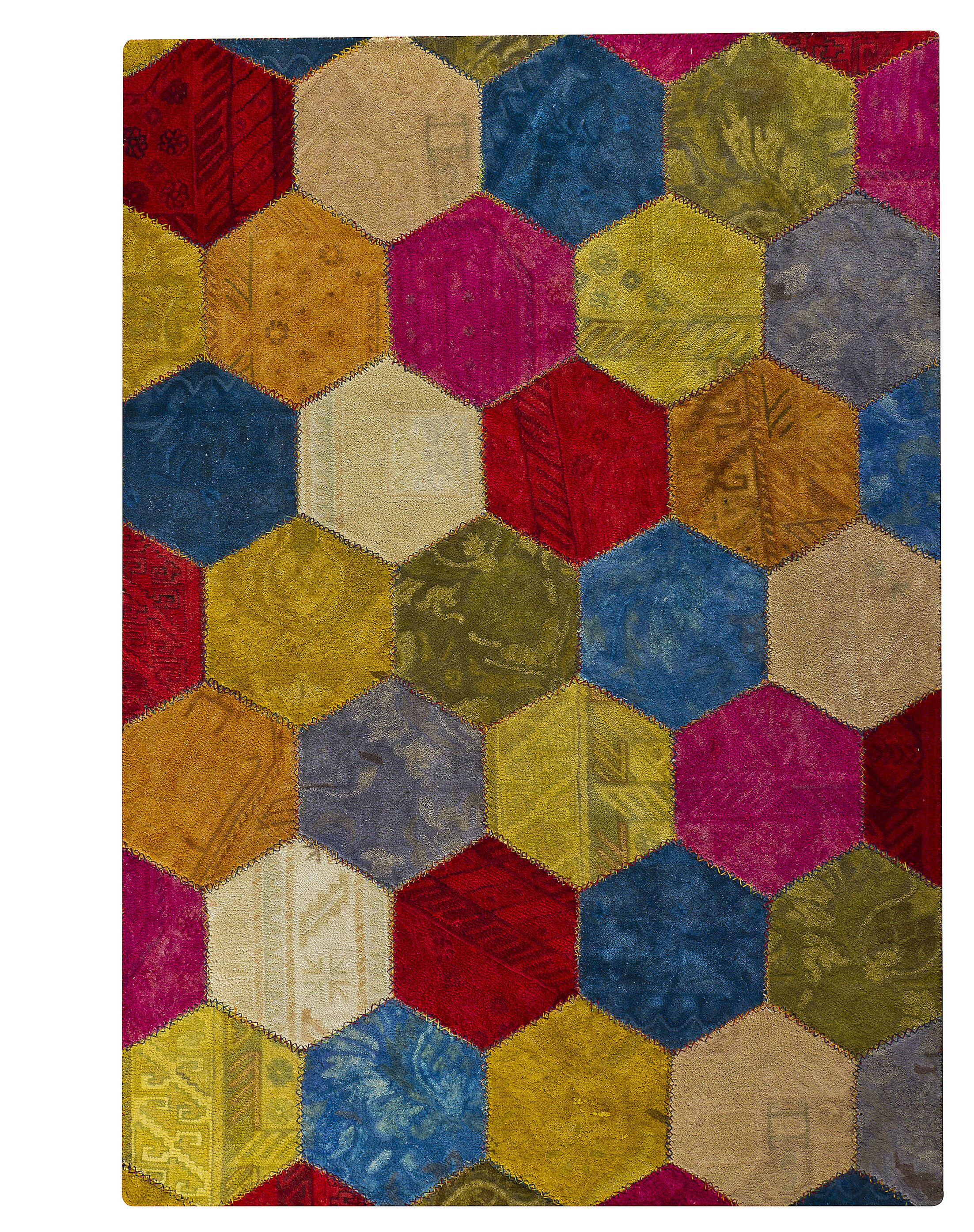Erskine Honey Comb Hand-Tufted Wool Red/Green Area Rug Rug Size: 5'2