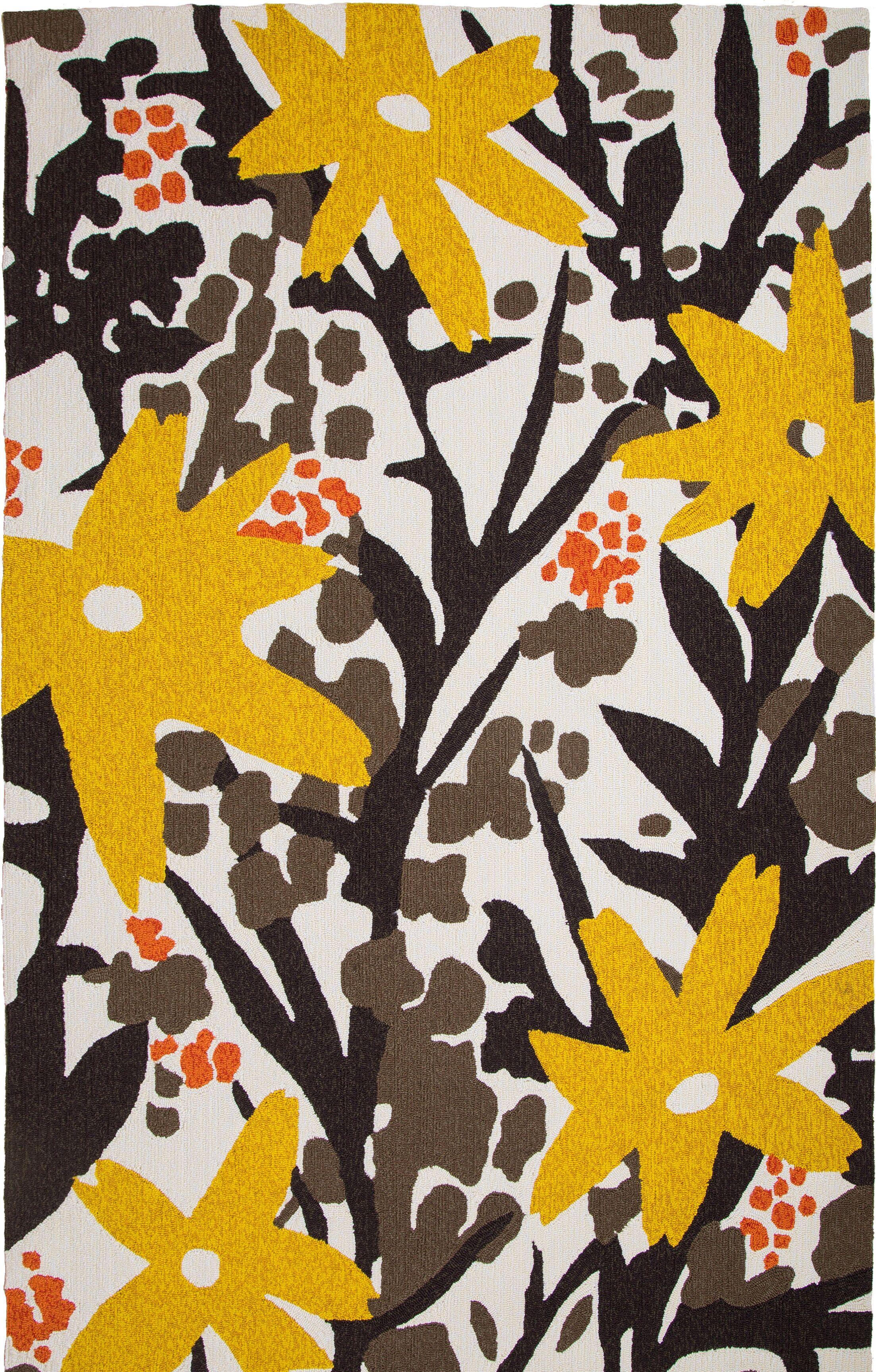 Bloom Hand-Tufted Brown/Gold Indoor/Outdoor Area Rug Rug Size: 8' x 10'