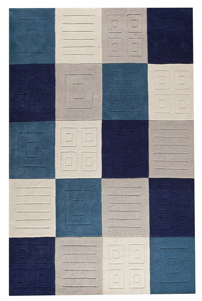 Cuadro Hand-Tufted Gray/Blue Area Rug Rug Size: 5' x 7'