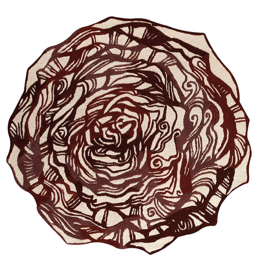 Hibiscus Hand-Tufted Burgundy Area Rug Rug Size: Round 8' x 8'