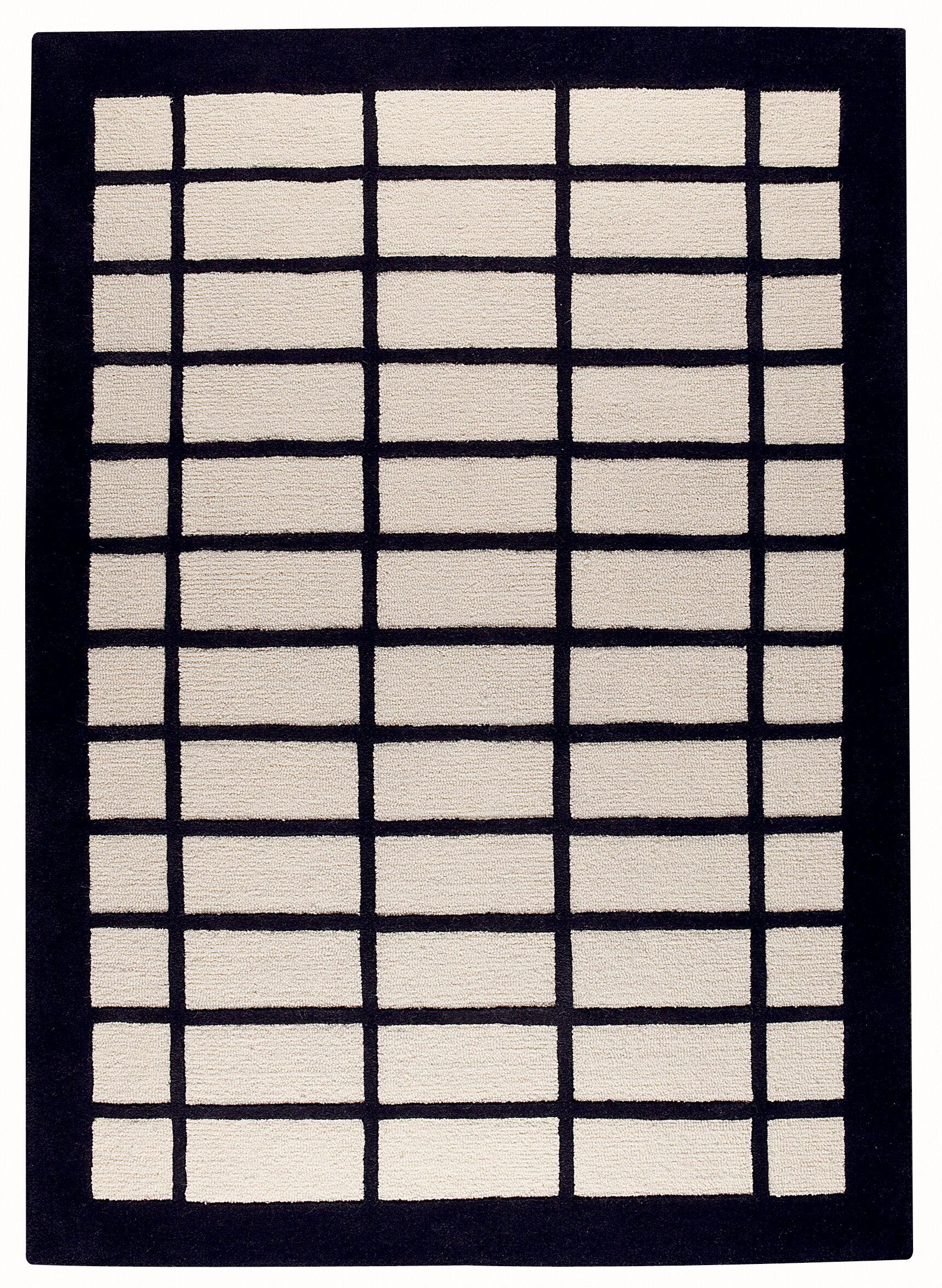 Fredric White/Charcoal Area Rug Rug Size: Rectangle 6'6