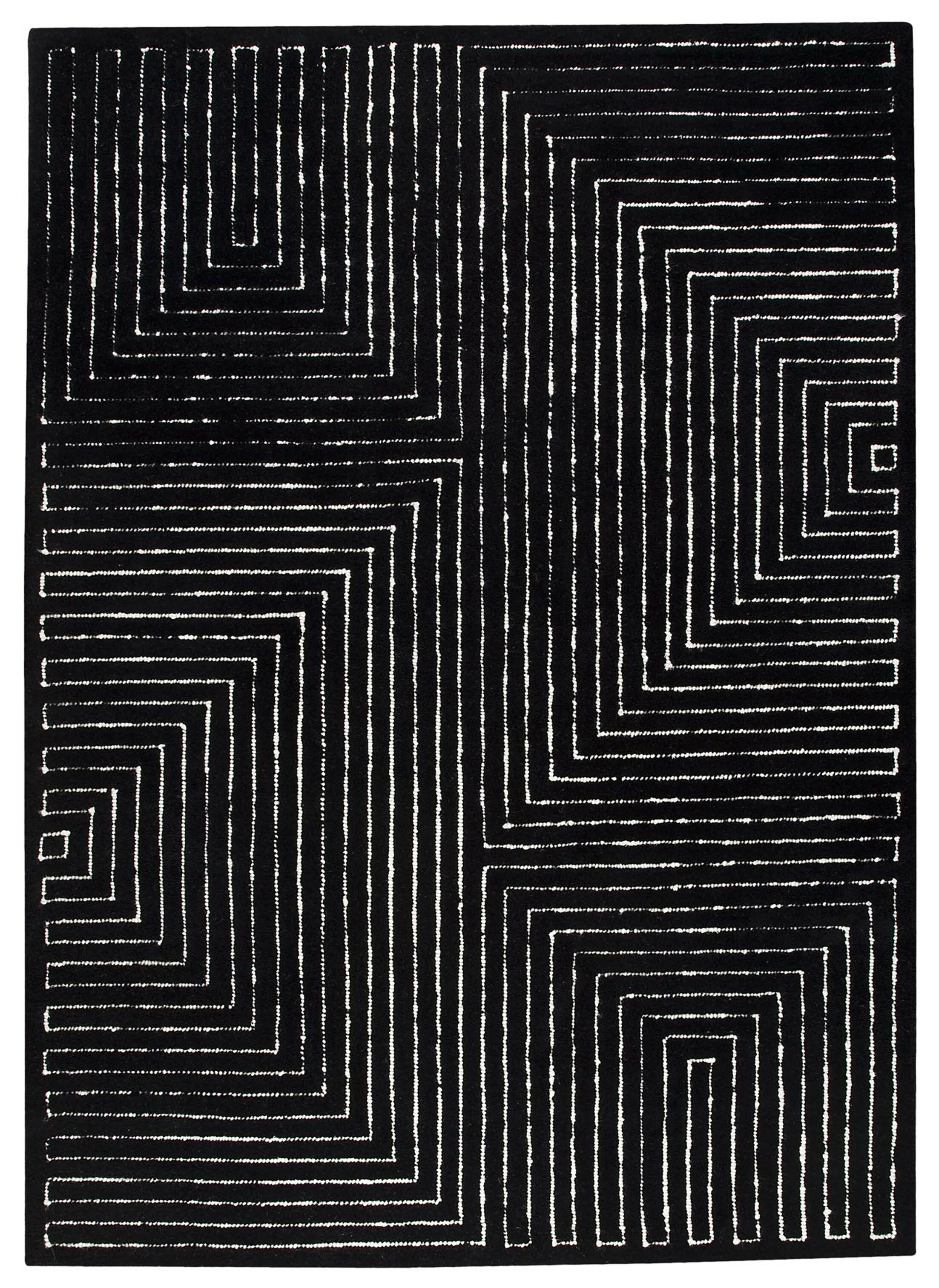 Maze Hand-Knotted Black/White Area Rug Rug Size: Rectangle 5'6
