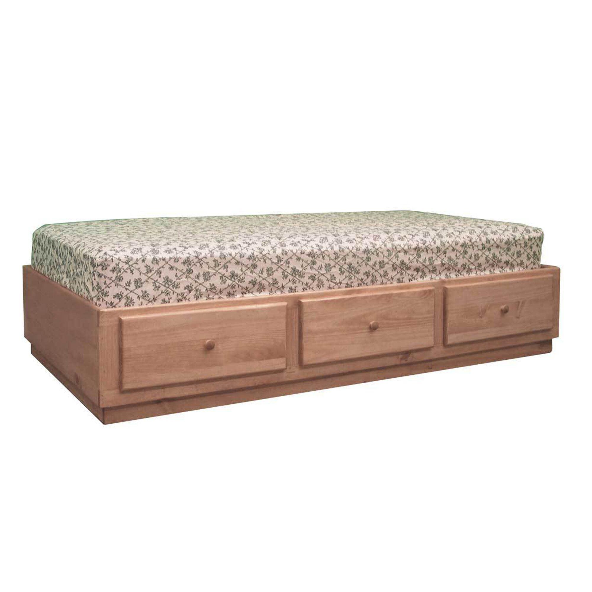 Captains Storage Platform Bed Color: Natural Teak, Size: Queen