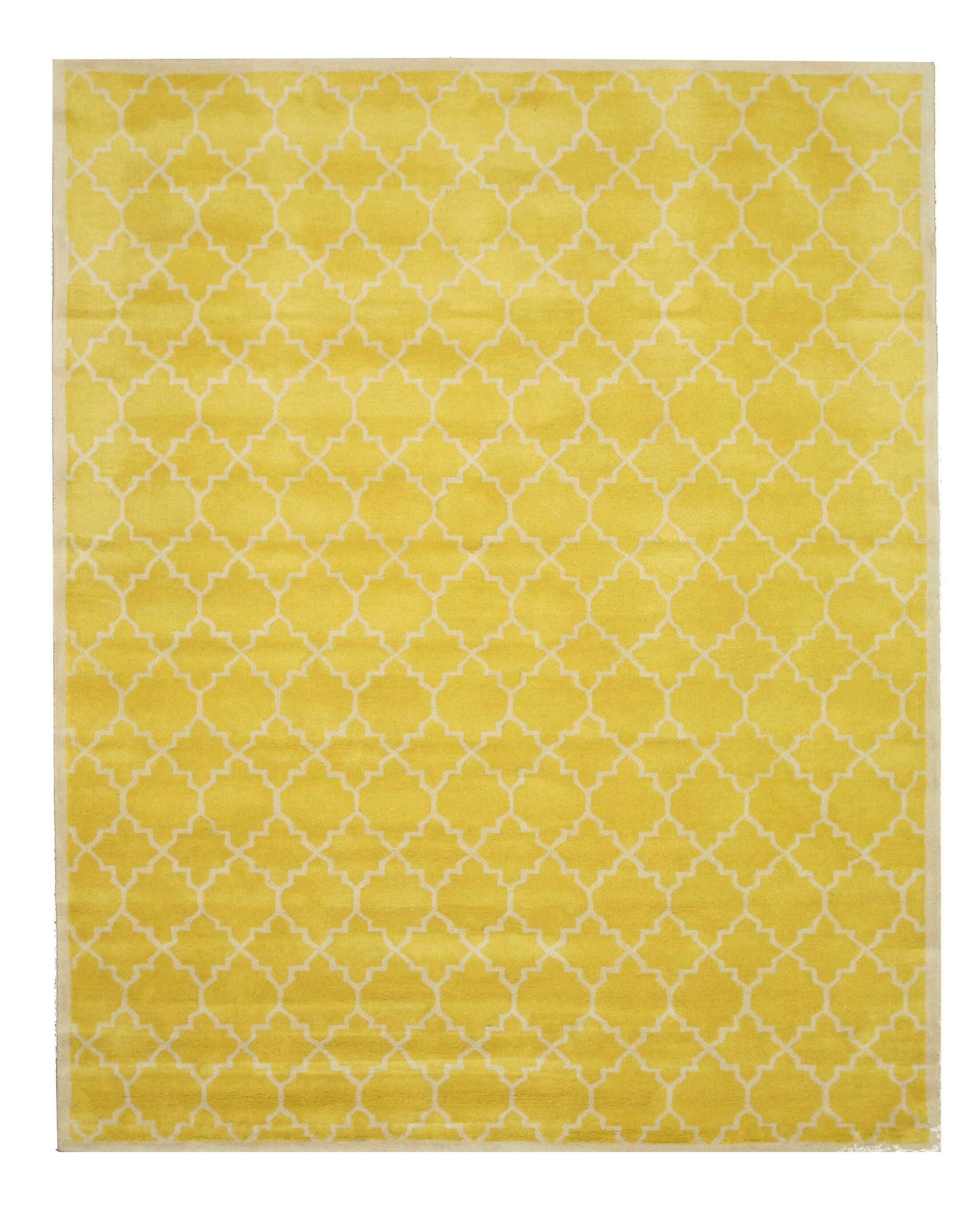 Durrant Traditional Trellis Hand-Tufted Wool Yellow Area Rug Rug Size: Rectangle 9'6
