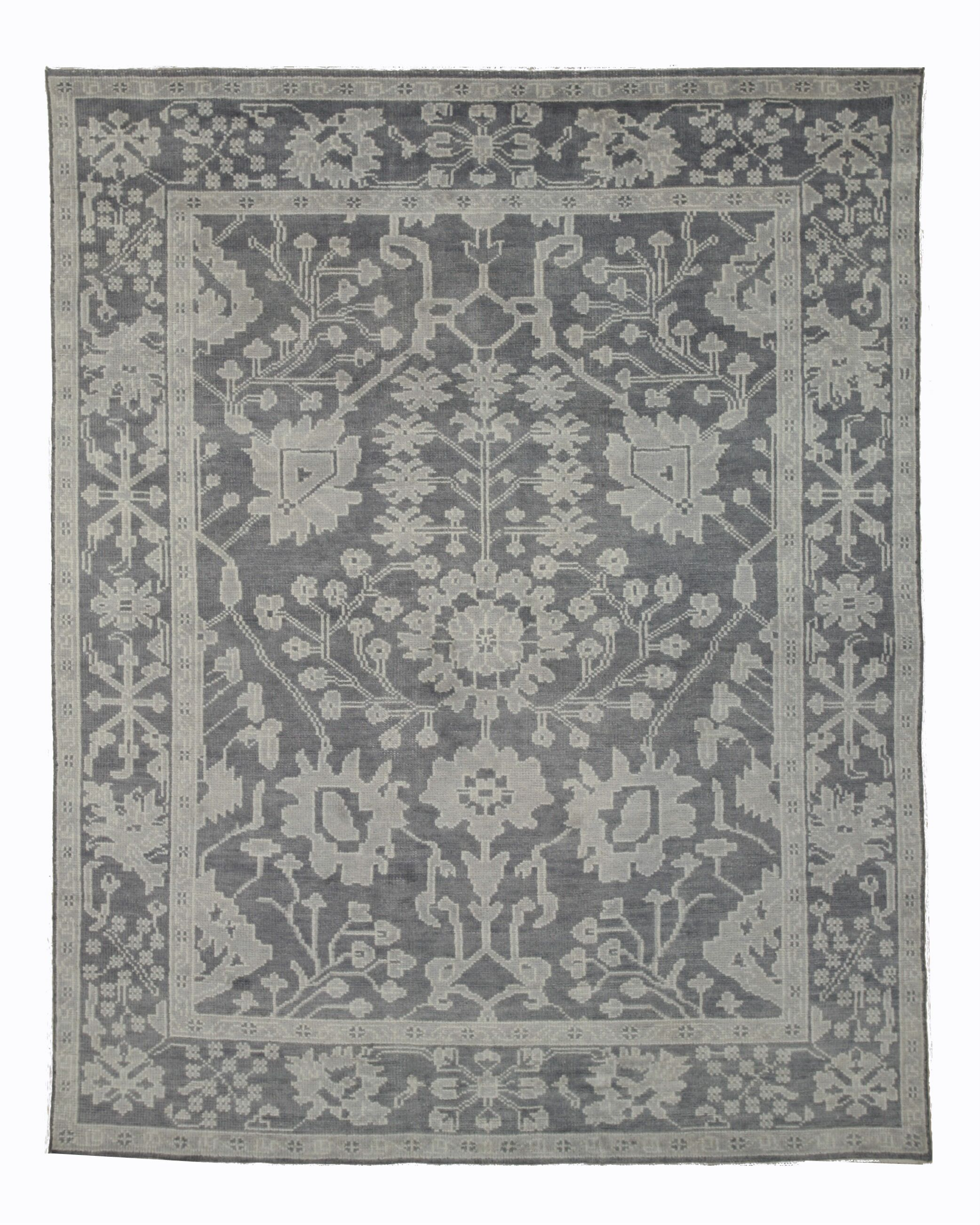 Monochrome Oushak Hand-Knotted Gray Area Rug Rug Size: 9' x 12'