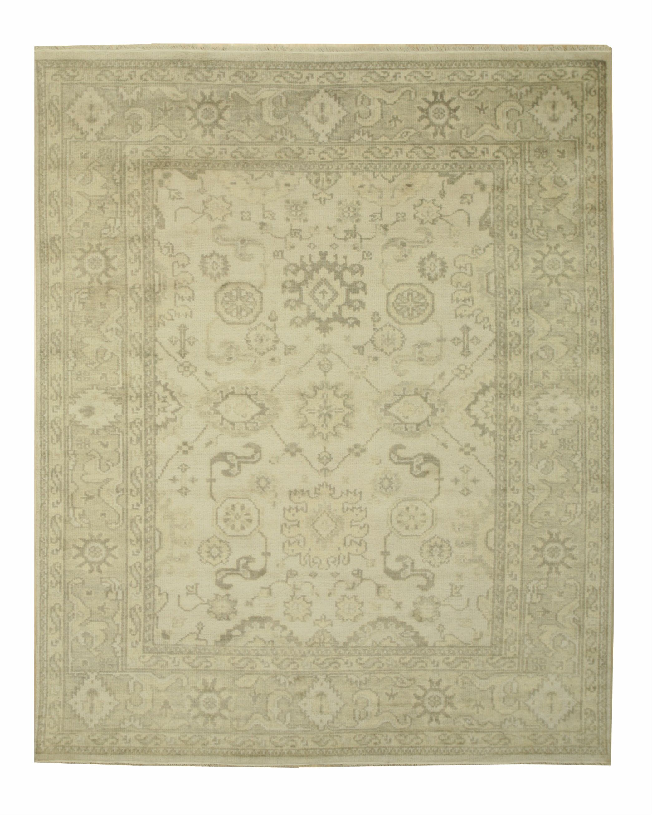 Monochrome Oushak Hand-Knotted Ivory Area Rug Rug Size: 12' x 15'