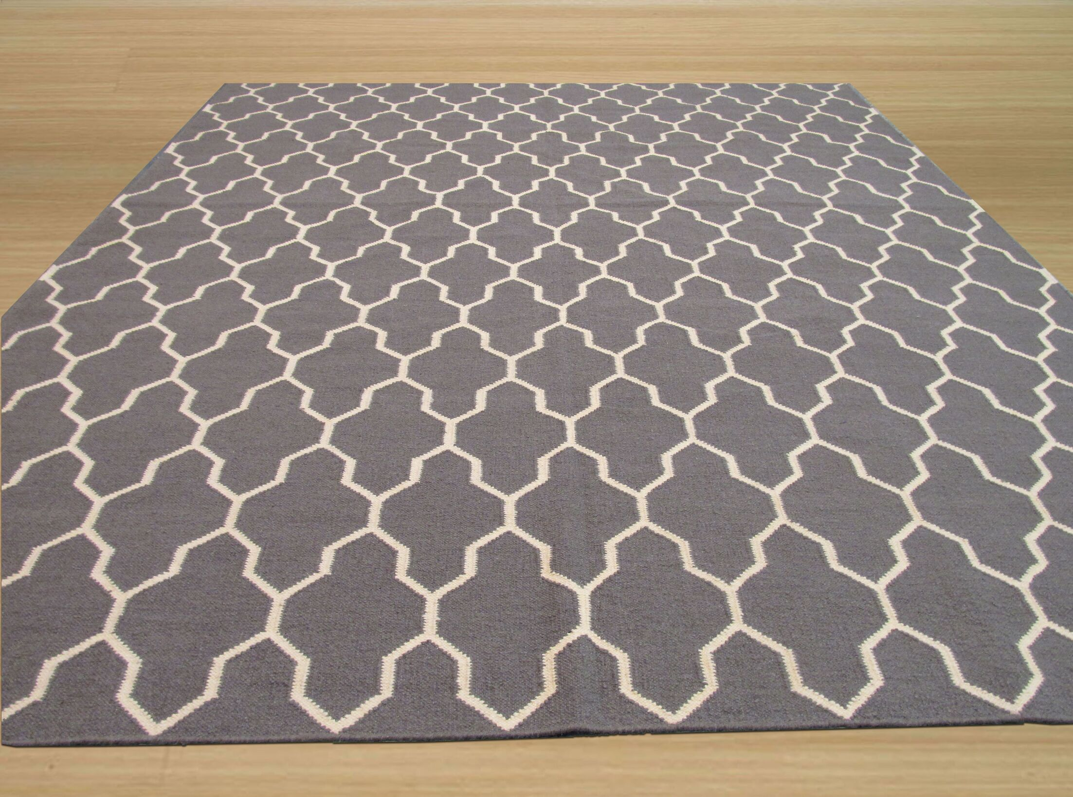 Hand Knotted Gray Area Rug Rug Size: Rectangle 8' x 10'